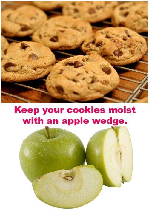 Keep your cookies moist with an apple wedge.